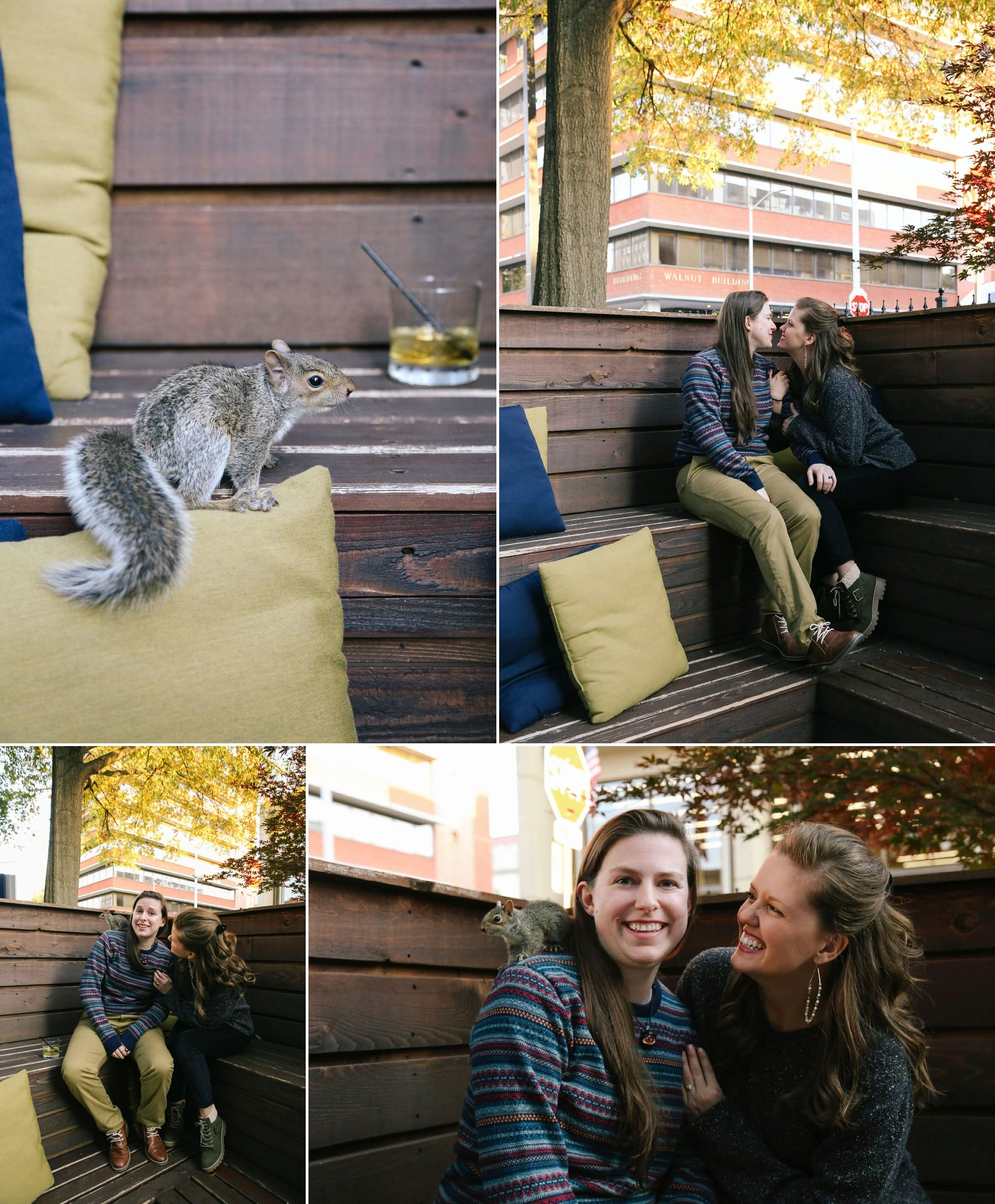 Hilarious moment when a squirrel crashes an engagement session