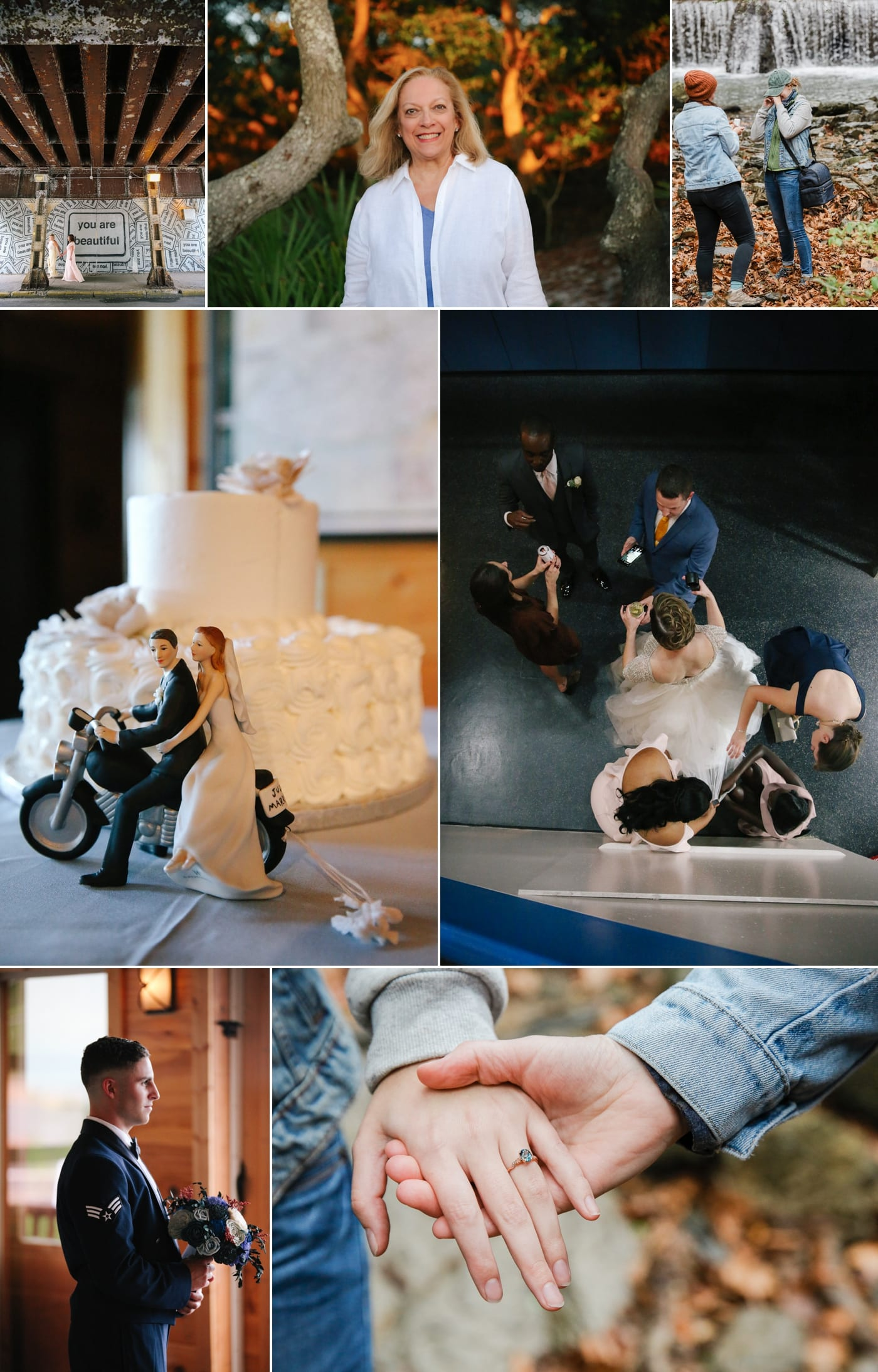 Wedding cake topper with a bride and groom on a motorcycle
